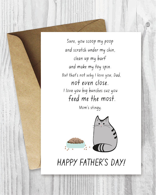 My cat Sylvia loves this card! It's her pick for favorite Father's Day card from the cat. Instant download!