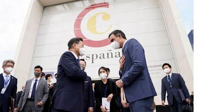 Moon Jae In y Pedro Sanchez, en la visita del Presidente de Corea del Sur a España