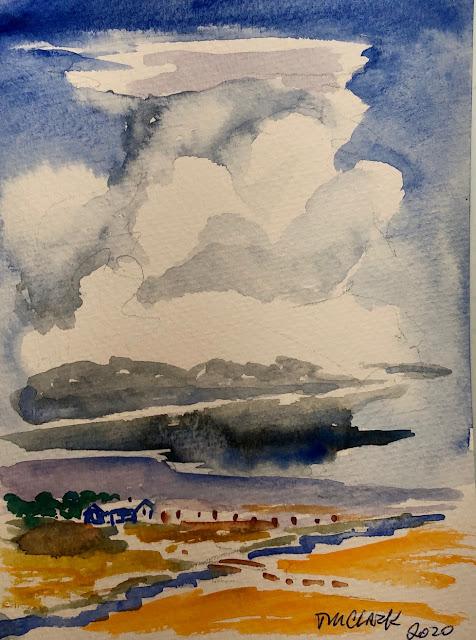 """Great Plains skies,"" 5 x 7 watercolor card"