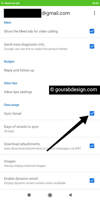 Gmail app sync setting