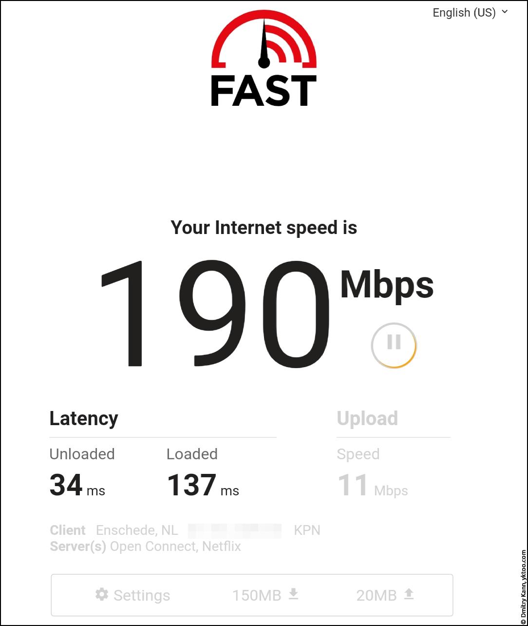 Скорость LTE — fast.com.