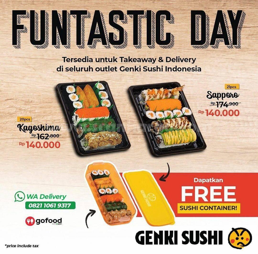 Promo GENKI SUSHI FUNTASTIC DAY! GRATIS Sushi Container