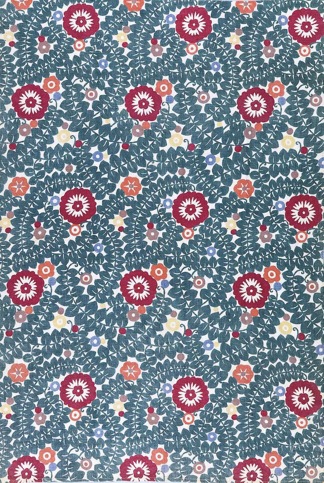 Wiener Werkstätte textile 1911? A pattern of flowers in in wine and teal colors