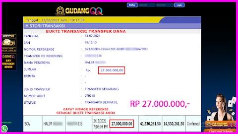 Selamat Kepada Member Setia GudangQQ WD sebesar Rp. 27,000,000.-
