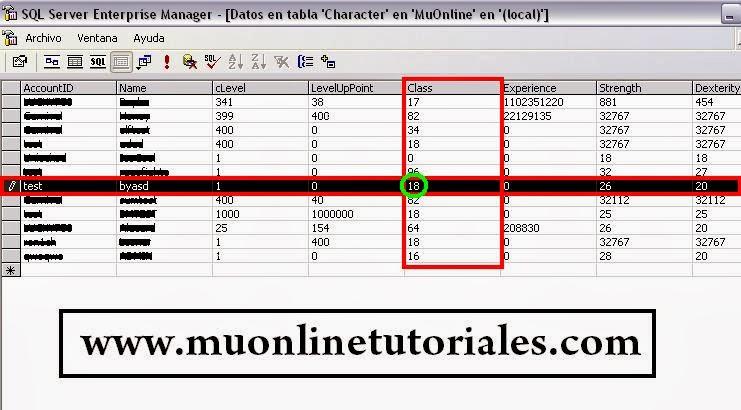 Columna class de la tabla character