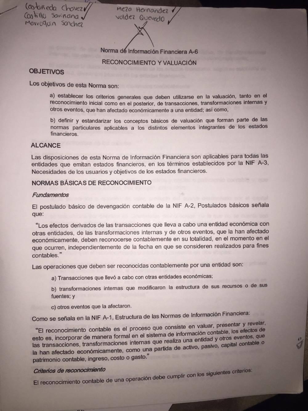 Normas De Información Financiera Resumen Nif A 6