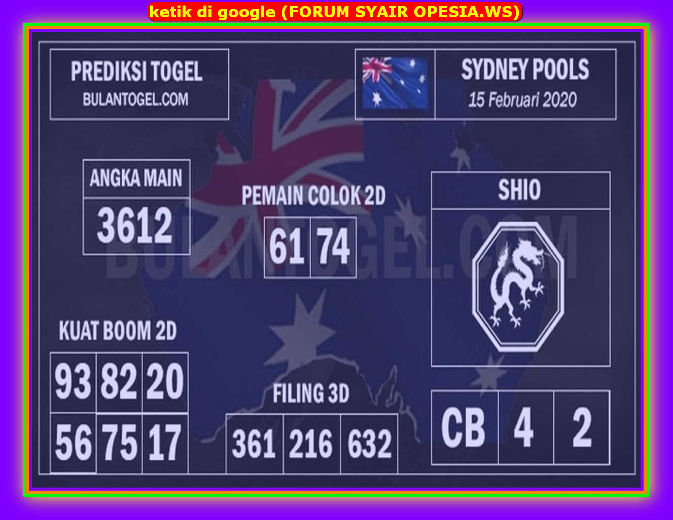 Kode syair Sydney Sabtu 15 Februari 2020 134