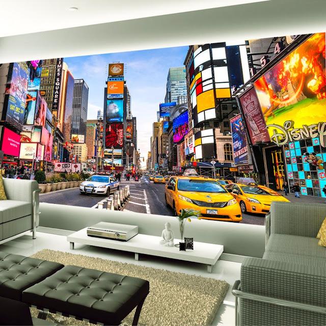 Fototapet New York Times Square taxi bilar manhattan
