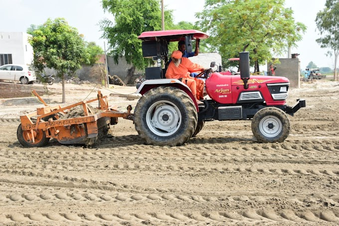 The work of leveling the lands of the farmers at Janian Chahal continues at war level