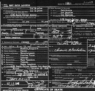 Mary Eaton Death Certificate