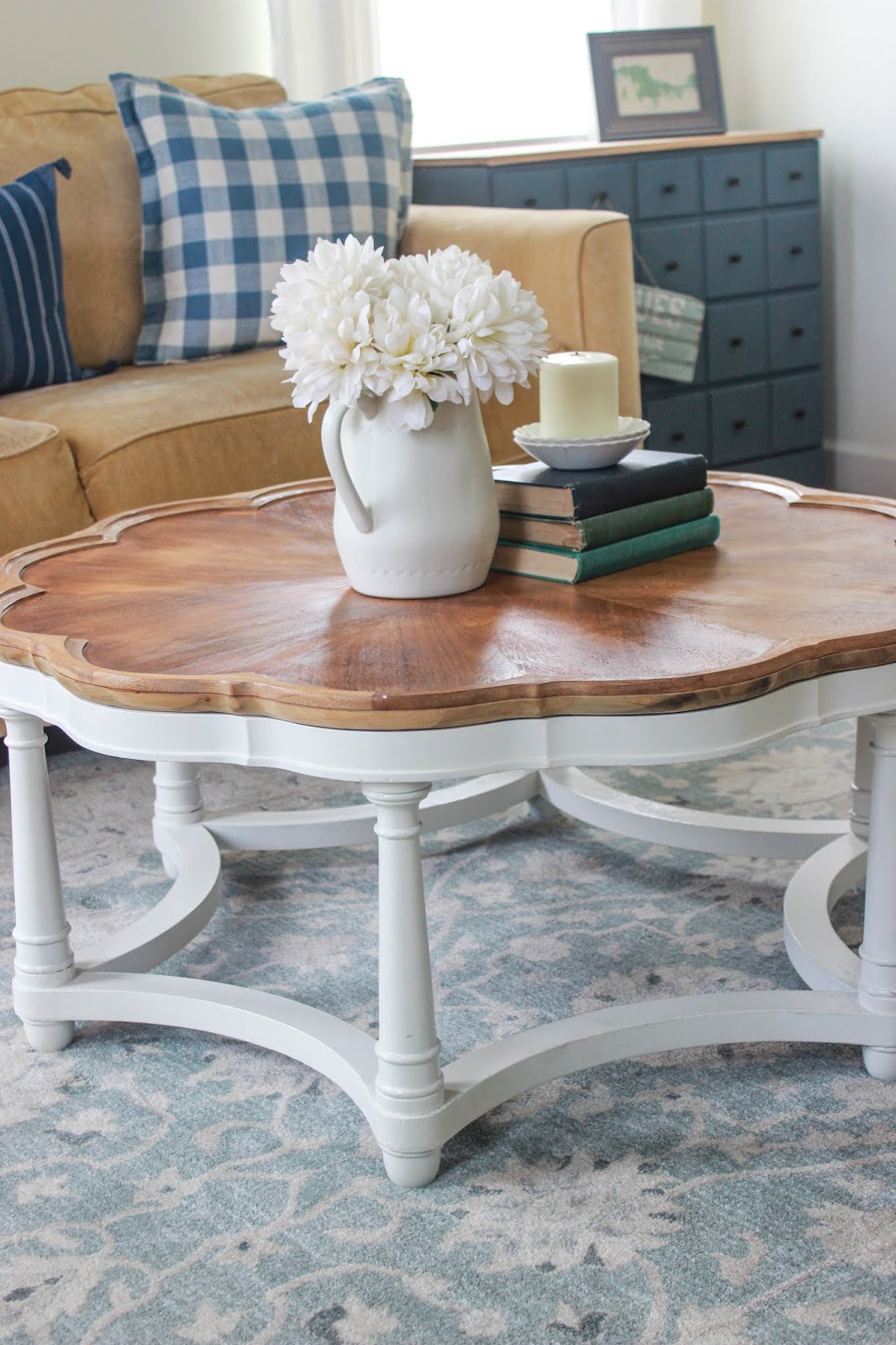 wood and white coffee table