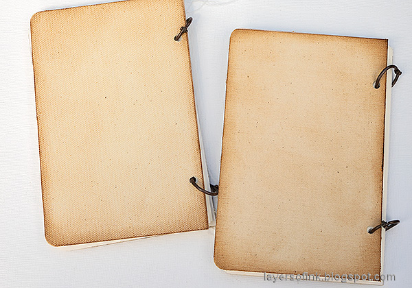 Layers of ink - DIY Bird Notebooks Tutorial by Anna-Karin Evaldsson. Bind the books.