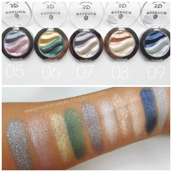essence 3D Eyeshadows swatches, 05 irresistible first love, 06 irresitible brazilian sun, 07 irresistible fullmoon flash, 08 irresistible vanilla latte, 09 irresistible midnight date