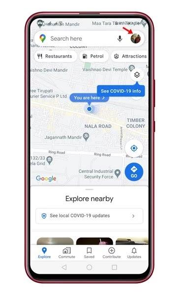 مشاركة موقعك في الوقت الفعلي في خرائط جوجل