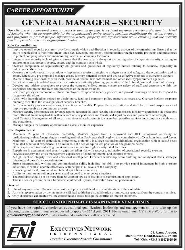 Job Vacancy Karachi 2021 General Manager Security Advertisement
