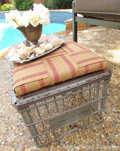 repurposed milk crate stool