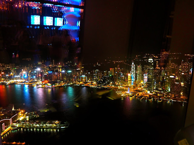 Victoria Harbour and Hong Kong skyline taken from Ozone bar in the ICC at night