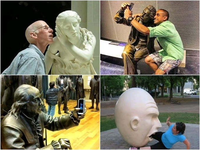 20 Pictures Of People Posing With Statues To Make Them Seem As If They Are Alive