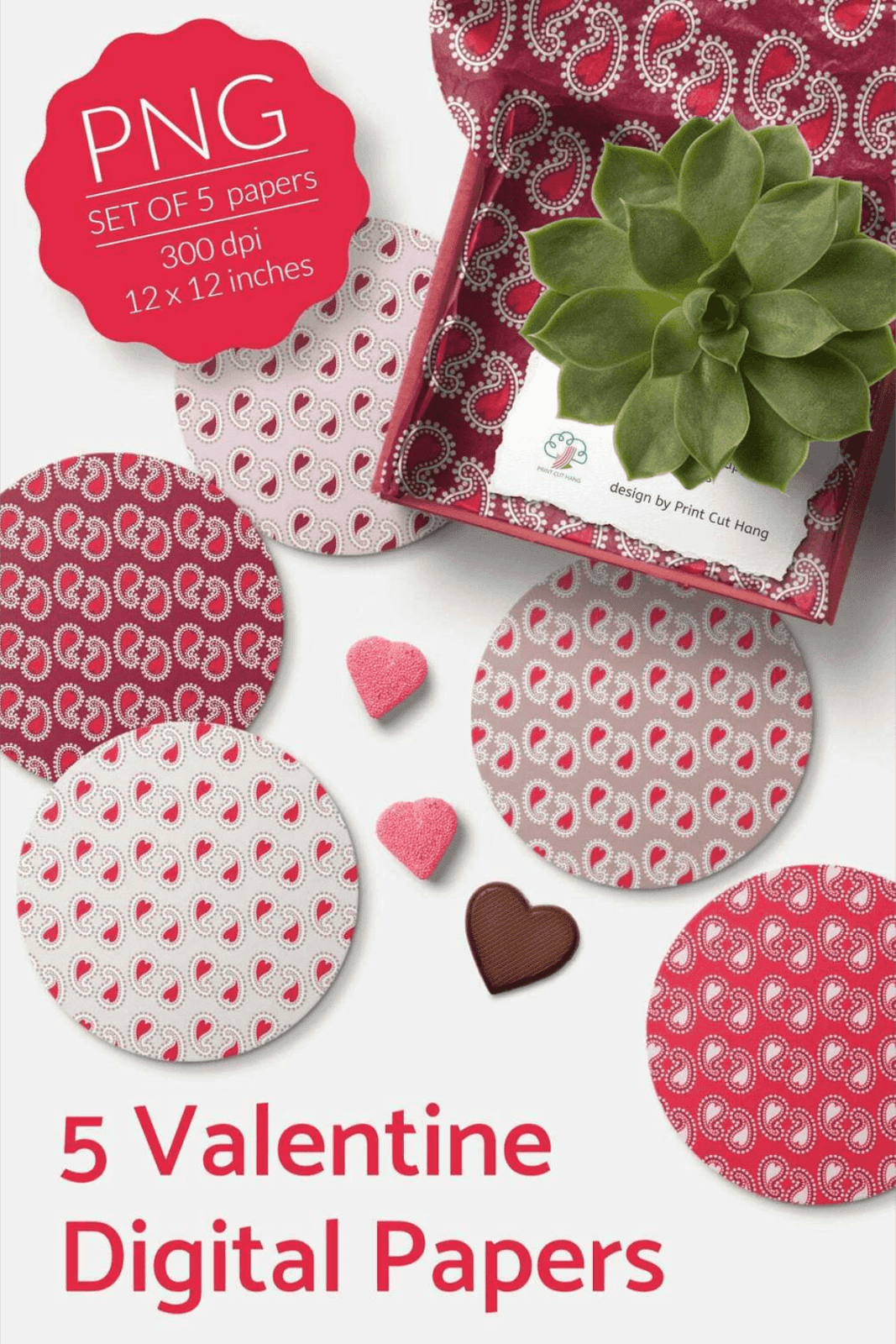 5 PAISLEY VALENTINE PAPERS