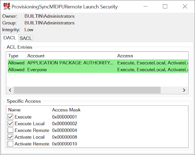 Security Descriptor view for COM Class showing Everyone has Access and Low Integrity Level
