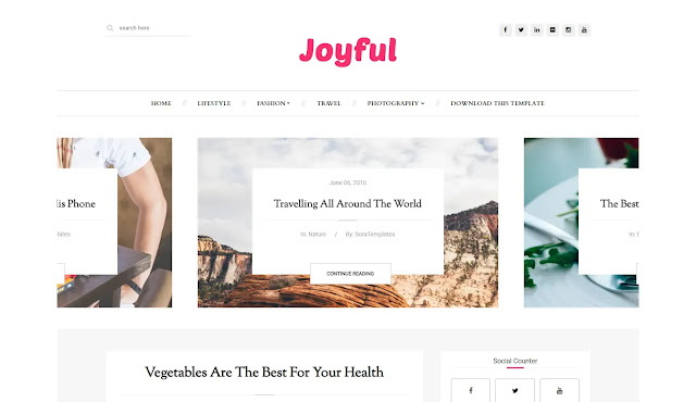 JoyFul Responsive Personal Blog Lifestyle Fashions Tutorial Blogger Template Theme