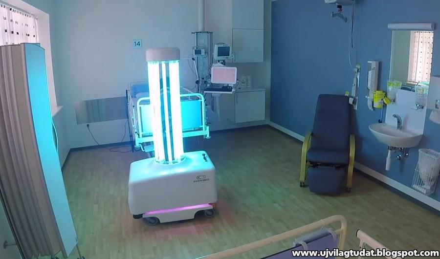 Ez a fertőtlenítő robot UV fénnyel pusztítja el a baktériumokat és a vírusokat