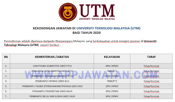 Jawatan Kosong Terkini di Universiti Teknologi Malaysia (UTM).