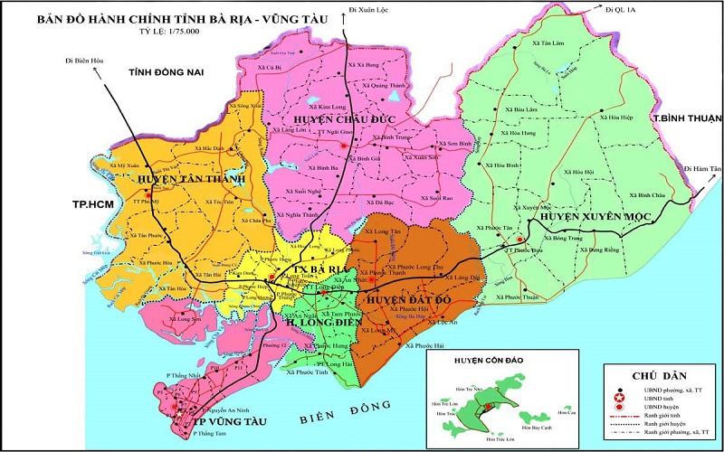 Bản đồ Hành chính Bà Rịa Vũng Tàu