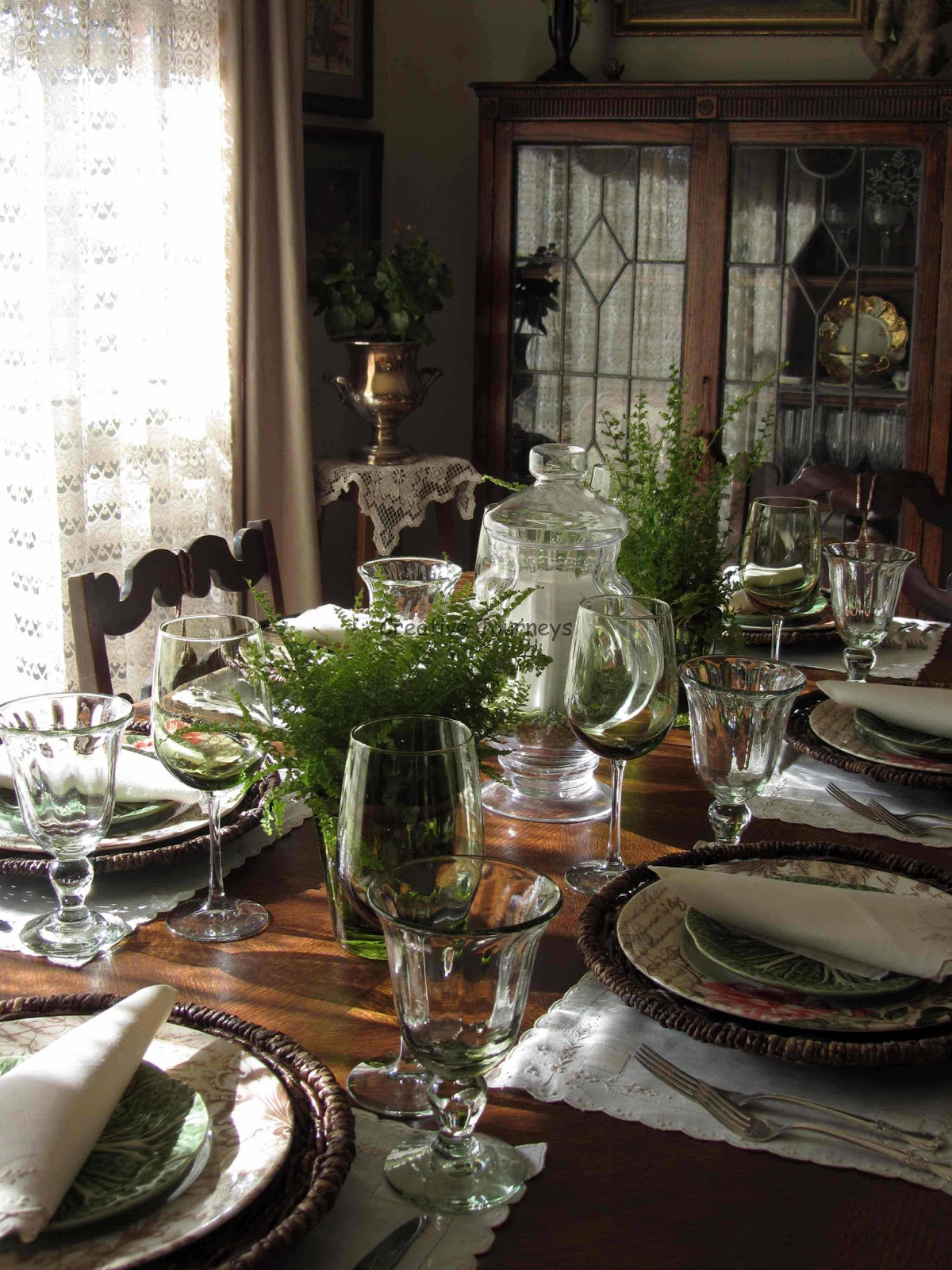 Creative Journeys Ferns And Roses Tablescape