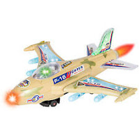 BCP Kids Toy F-16 Figher Jet Airplane, Flashing Lights / Sound, Bump & Go Action