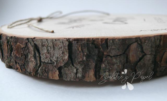 detalle corteza, porta alizanzas de madera grabado a mano