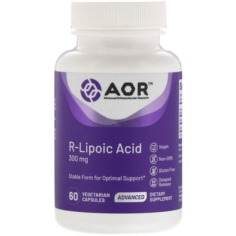 Advanced Orthomolecular Research AOR, R-липоевая кислота, 300 мг, 60 растительных капсул