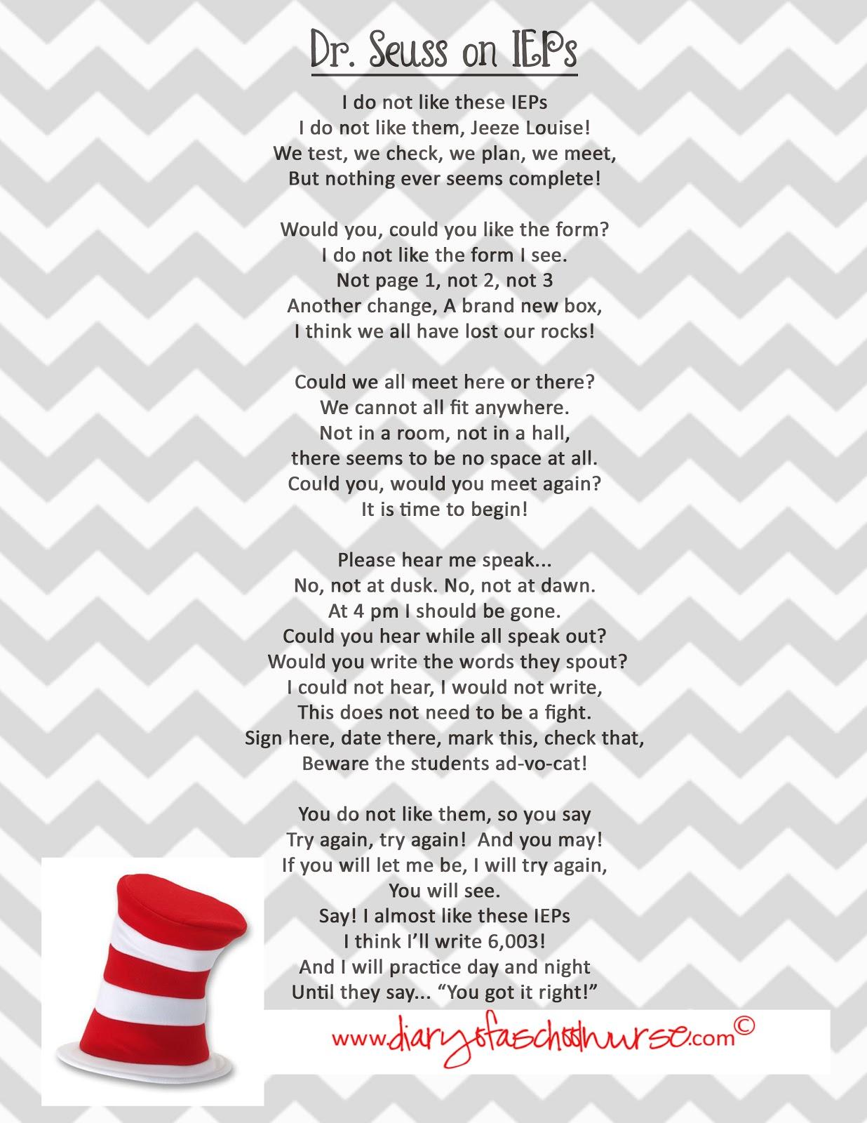 Diary Of A School Nurse: Dr. Seuss . free printable poem