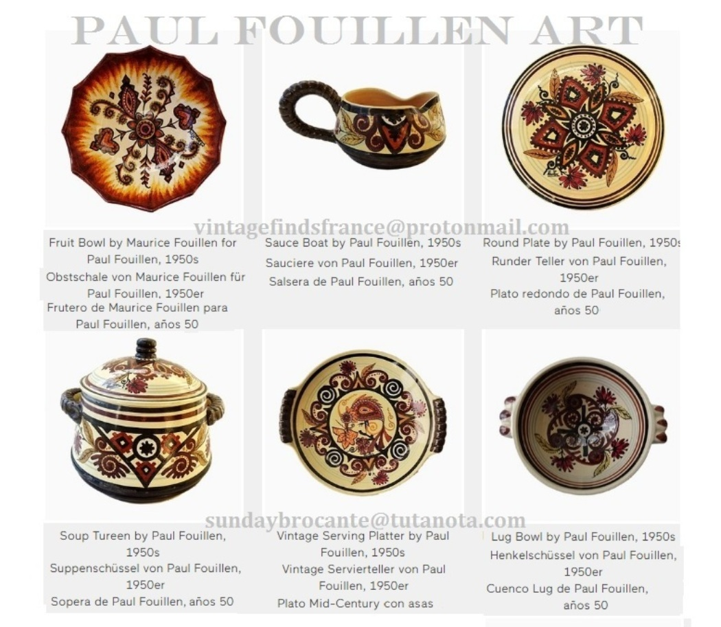 Paul Fouillen, 1950s Vintage Round Plate, Fruit Bowl, Sauce Boat, Lug Bowl, Soup Tureen, Vintage Serving Platter with handles.