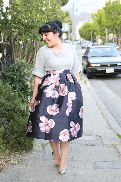 Peach Blossom Print Skirt and Metallic Heels