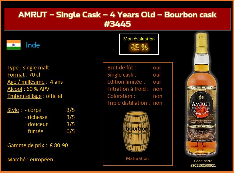 Review #620  : Amrut – Single Cask – 4 years Old – Bourbon cask #3445