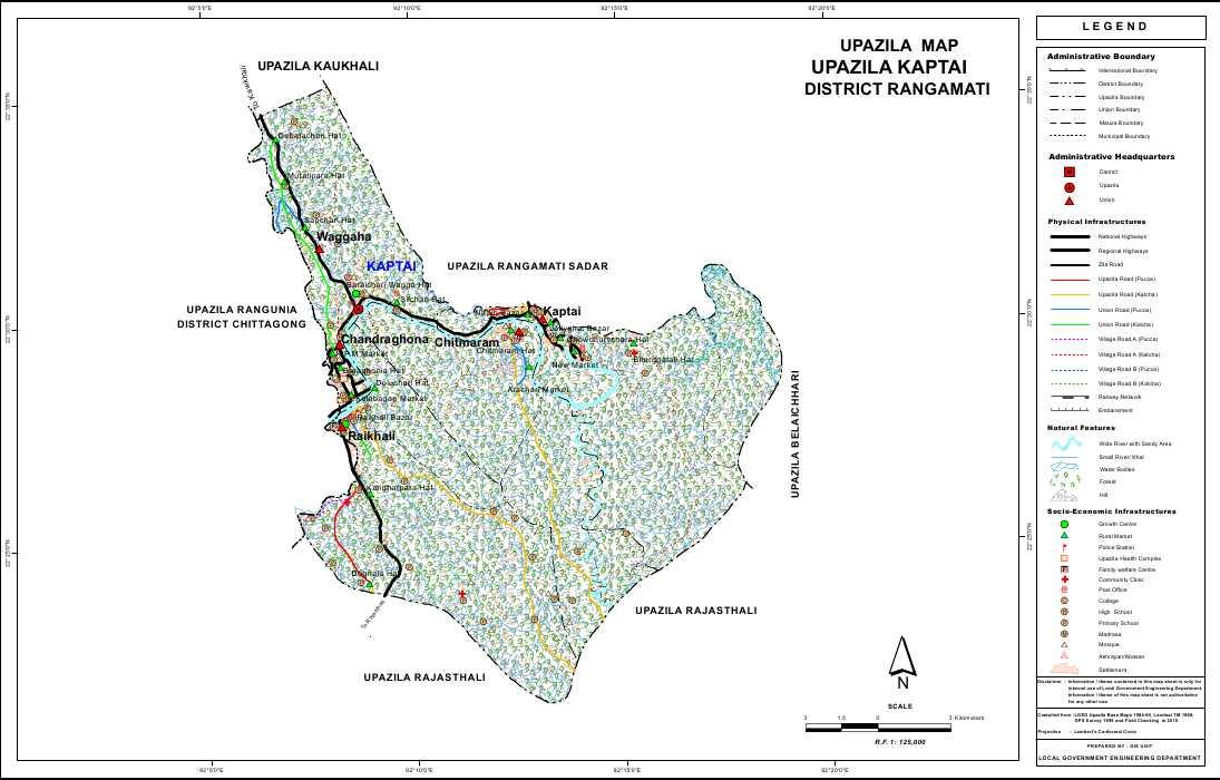 Kaptai Upazila Map Rangamati District Bangladesh