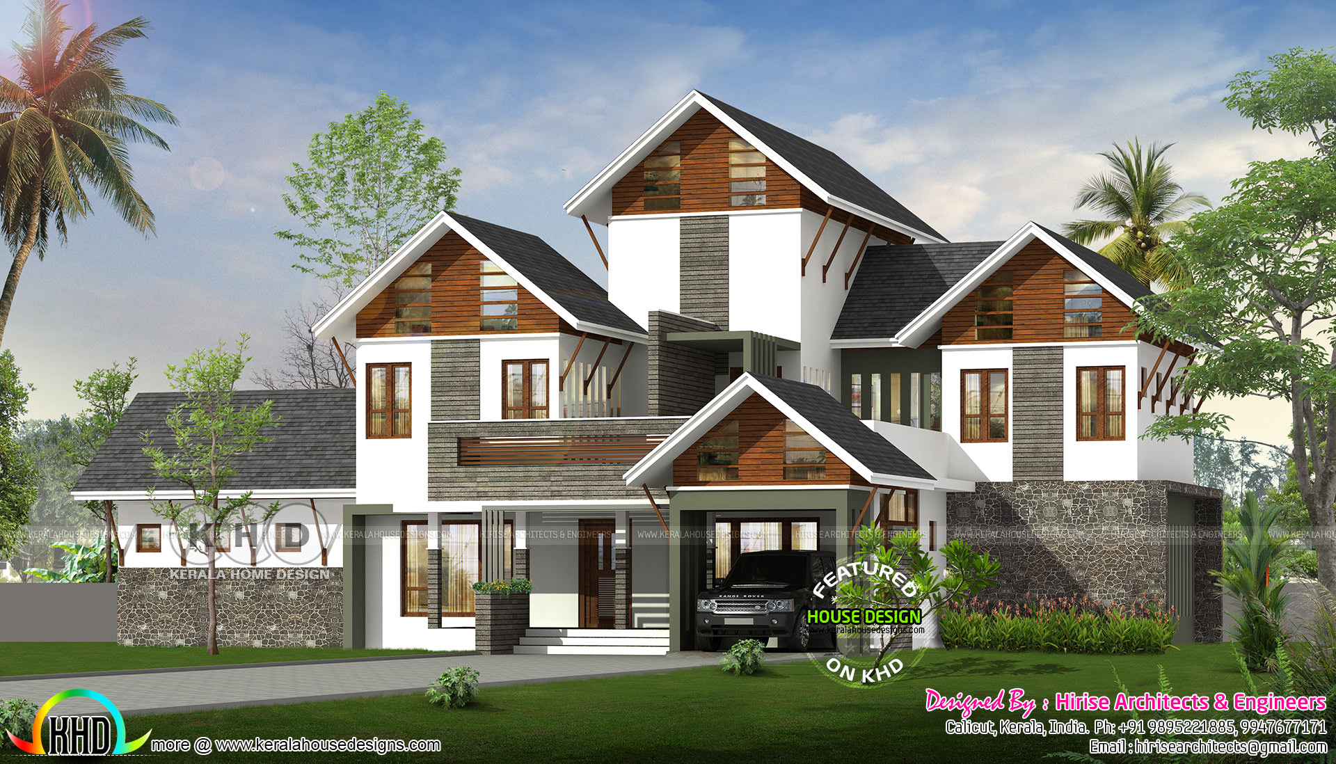 5 bedroom sloping roof luxury house kerala home design for 5 bedroom luxury house plans