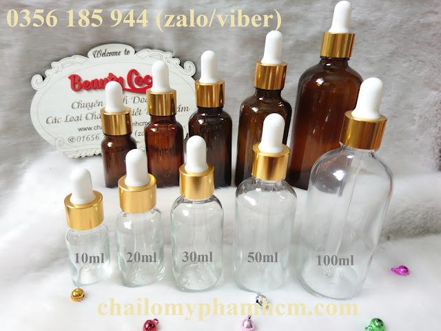 Chai tinh dầu thủy tinh bóp giọt (chai serum)