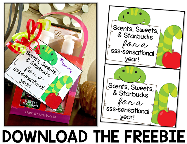 On the lookout for back to school gifts for teachers? Then check out this post! Scents, sweets, and Starbucks make this sssssensational! Plus there's a FREE download included! It's the perfect gift for your child's teacher, a teaching colleague, your paraprofessional or aide, the school secretary, janitor, principal, speech pathologist, special teachers, or ANYONE who works at the school! Click through now to get your FREEBIE! {preschool, Kindergarten, 1st, 2nd, 3rd, 4th, 5th, or 6th grade!}