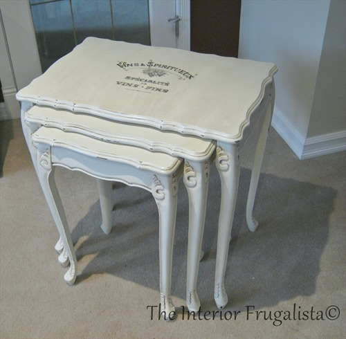 Nesting Table Makeover with chalk paint and French Graphic