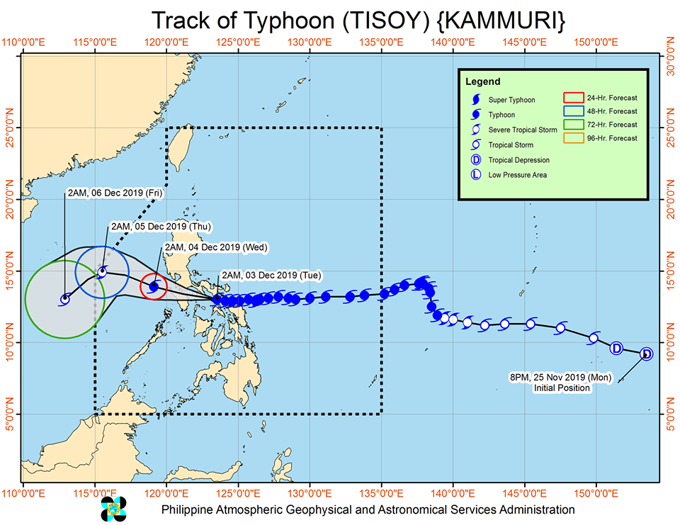 Typhoon Tisoy to exit Philippine Area of Responsibility (PAR) on Friday, December 6