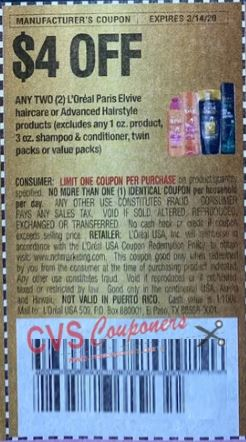 "$4.00/2 L'Oreal Paris Elvive Haircare or Advanced Hairstyle Coupon from ""RetailMeNot"" insert week of 3/1/20"