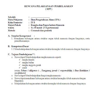 Contoh RPP KTSP SD Terbaru Kelas 4 Semester 1 dan 2