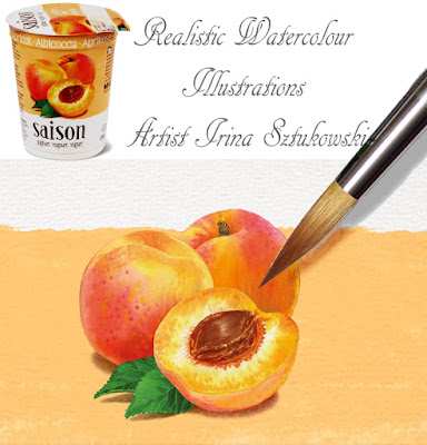 Peach Migros Saison Yogurt with watercolour illustrations by Irina Sztukowski