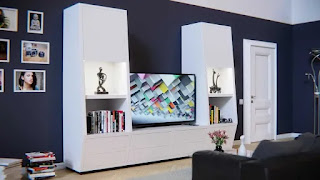 ديكورات تلفزيون خشب ناعمة بسيطة