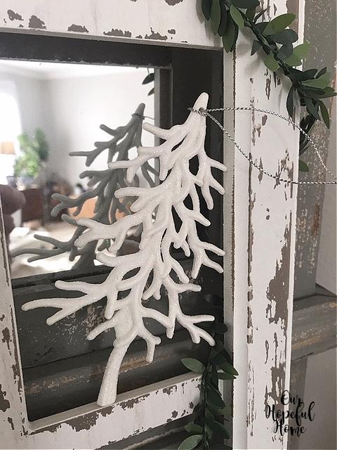 snowy white pine tree ornament