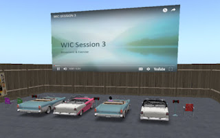 Boston Medical Center's drive-in theater in Second Life where lessons are shown on screen