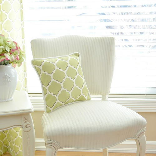 French Provincial Chair Fabric Painted White With Chalk Paint