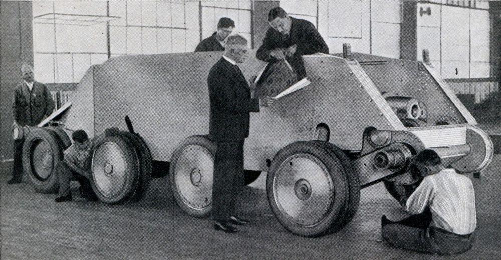 A Christie tank being assembled.